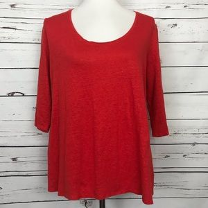 Eileen Fisher Silk Linen Top Red Size Large Petite